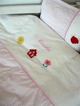 Baby sengesæt med stribe, pige